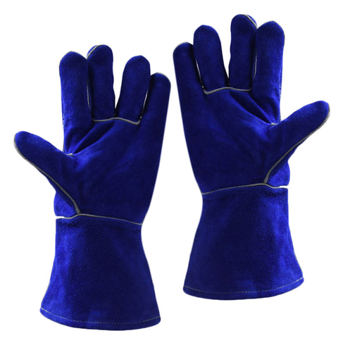 1 Pair Wear Resistant Cowhide Welding Gloves Welder Protection,Dark Blue(XL)