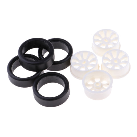 Image of 4 Sets 1:24 RC Rock Crawler Rubber Tires & Plastic Wheel Rim Set for A252