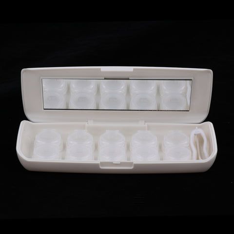 5 Pieces Flip-Top Contact Lens Case Container Holder with Storage Box Beige
