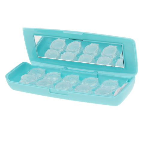5 Pieces Flip-Top Contact Lens Case Container Holder with Storage Box Blue
