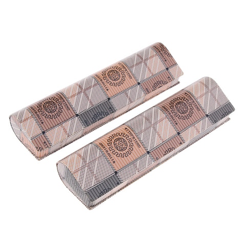 2 Pieces Eyeglass Box Glasses Case Protector Storage Container Brown Grid