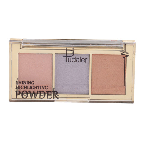 3Color Face Makeup Glow Shining Bronzer Highlighter Concealer Powder Palette 03#