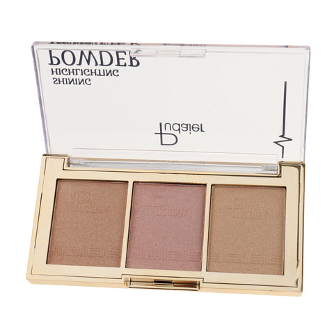 3Color Face Makeup Glow Shining Bronzer Highlighter Concealer Powder Palette 02#
