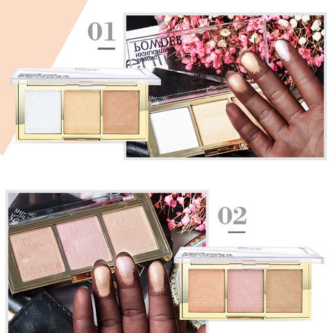 3Color Face Makeup Glow Shining Bronzer Highlighter Concealer Powder Palette 01#