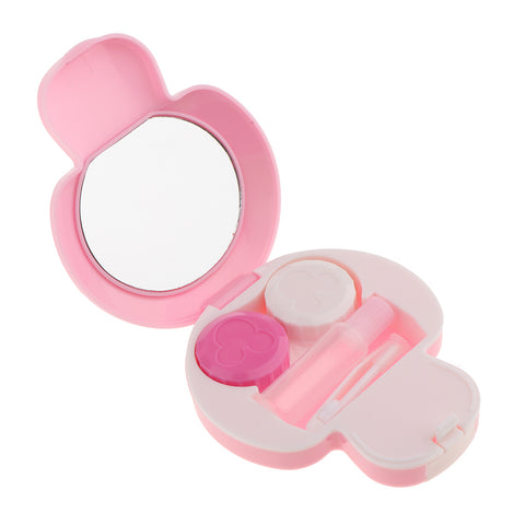 Mini Contact Lens Travel Kit Mushroom Case Storage Holder Container Box Pink