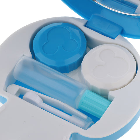 Mini Contact Lens Travel Kit Mushroom Case Storage Holder Container Box Blue