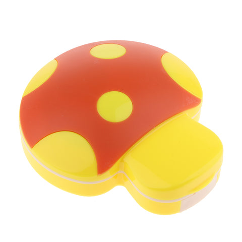 Mini Contact Lens Travel Kit Mushroom Case Storage Holder Container Box Yellow
