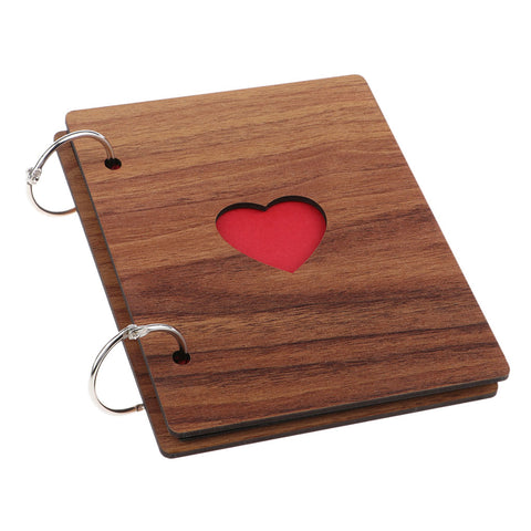 Image of Wooden Scrapbook Photo Album Kraft Paper for Valentines Day Wedding Wood