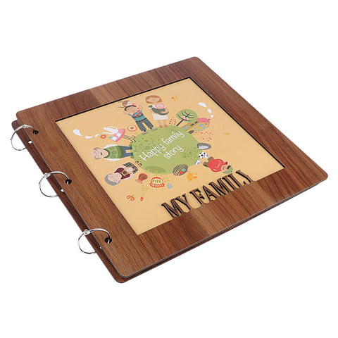 Image of wooden cover Scrapbook Photo Album Photo Memory Book  happy family