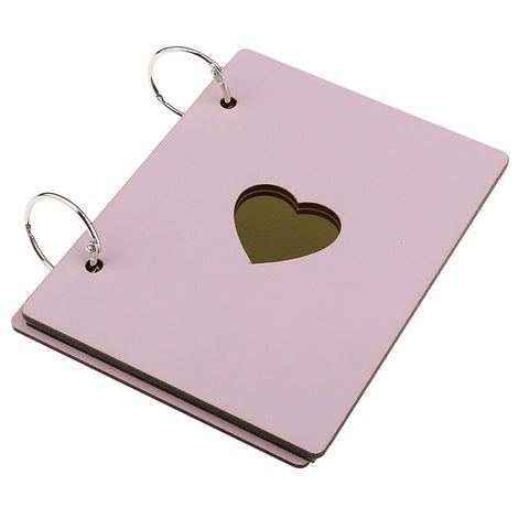 Image of Wooden Scrapbook Photo Album Kraft Paper for Valentines Day Wedding Pink