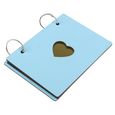 Image of Wooden Scrapbook Photo Album Kraft Paper for Valentines Day Wedding Sky Blue