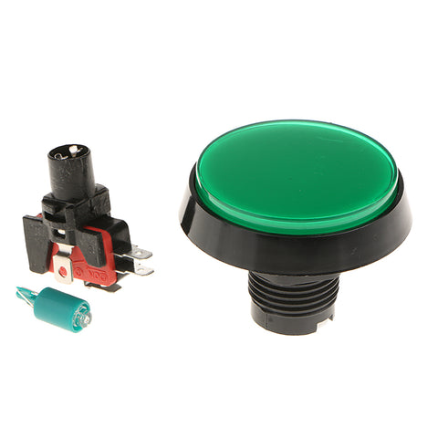 60mm Round Game Machine Arcade Push Button LED Illuminated & Switch DC12V Green