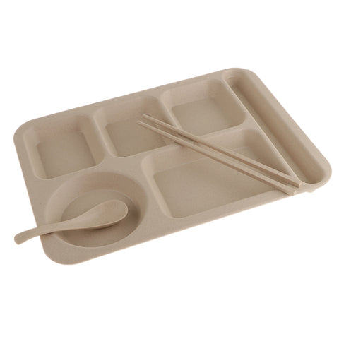 Wheat Straw Snack Plate Fast Food Stackable Tableware Dinnerware Sets Beige