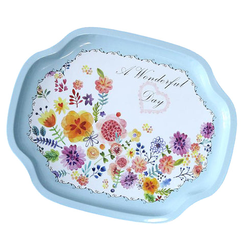 Tray Fruit Dish plate Home Decoration Kitchenware blue sunflower