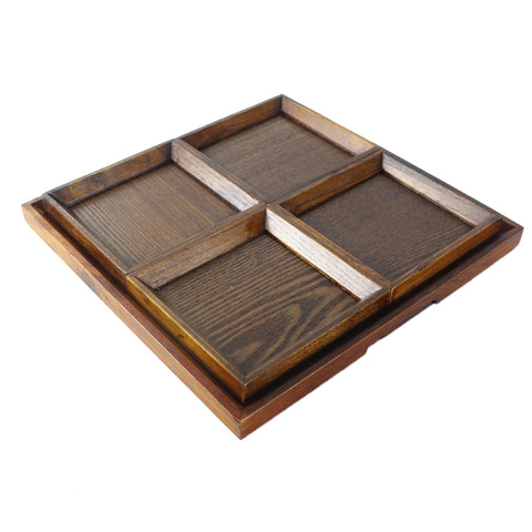 Creative Wood Tray set for Snacks Fruit 31cm Chassis + 4pcs 14cm Plate