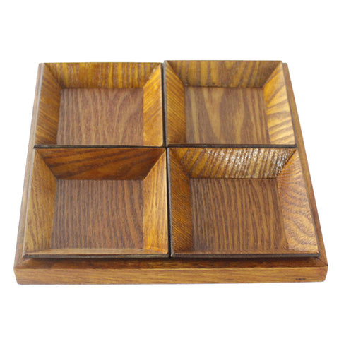 Creative Wood Tray set for Snacks Fruit 22cm Chassis + 4pcs 10.5cm Plate