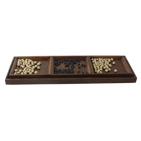 Creative Wood Tray set for Snacks Fruit 45x15cm Chassis + 3pcs 14x12cm Plate