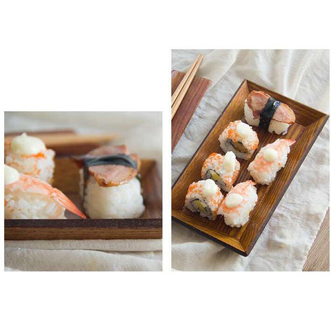 Wood Serving Tray Dish Plate for Sushi Snacks Fruit 21.5x11.5x2cm Rectangle