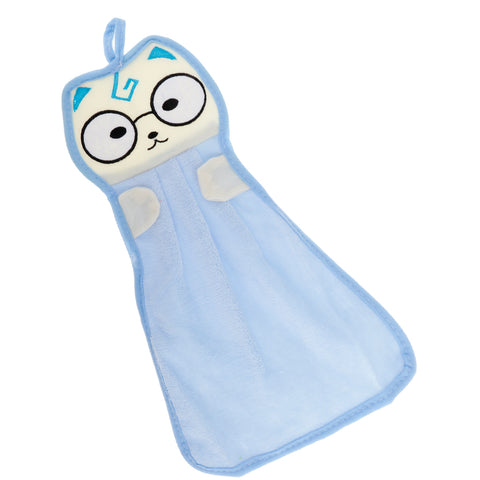 Microfiber Hanging Hand Absorbent Towel Cartoon Bath Face Washcloth Blue