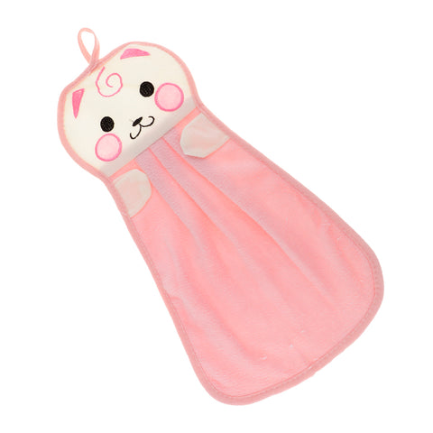 Microfiber Hanging Hand Absorbent Towel Cartoon Bath Face Washcloth Pink