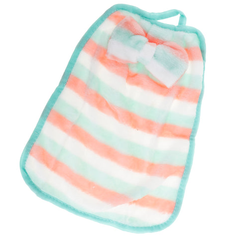 Wall Hanging Coral Fleece Hand Towel Bowknot Kids Drool Bibs Blue Stripe