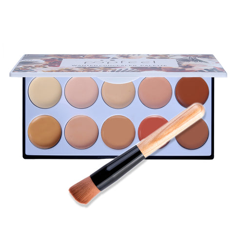 10 Colors Smooth Concealer Makeup Base For Blemish Spots Dark Circles With Brush