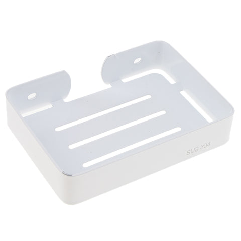 Stainless Steel Soap Dish Wall Mounted Soap Holder Bathroom Soap Saver Tray White