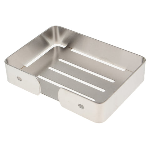 Stainless Steel Soap Dish Wall Mounted Soap Holder Bathroom Soap Saver Tray Silver 02