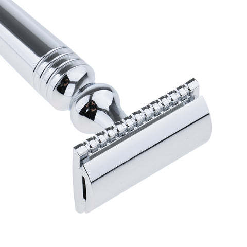 Image of Men's Double Edge Safety Shaving Razor Alloy Classic Manual Shaver Silver