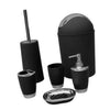 6PCS Solid Luxury Plastic Bathroom Accessories Set Wash Suit Black