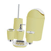6PCS Solid Luxury Plastic Bathroom Accessories Set Wash Suit Lignt yellow