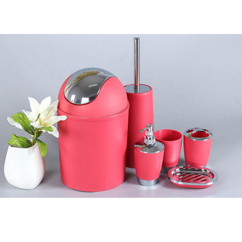 6PCS Solid Luxury Plastic Bathroom Accessories Set Wash Suit Red