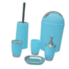 6PCS Solid Luxury Plastic Bathroom Accessories Set Wash Suit Blue
