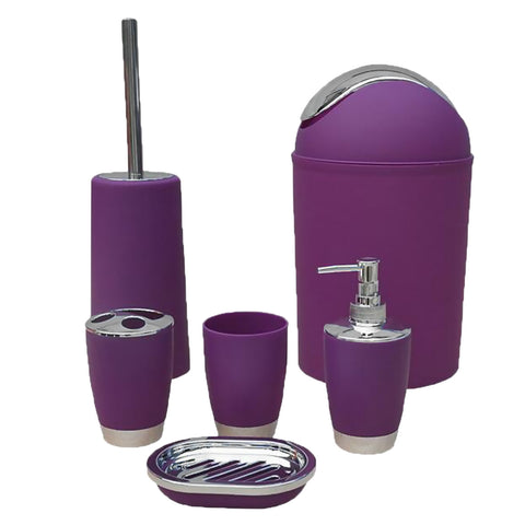 6PCS Solid Luxury Plastic Bathroom Accessories Set Wash Suit Purple