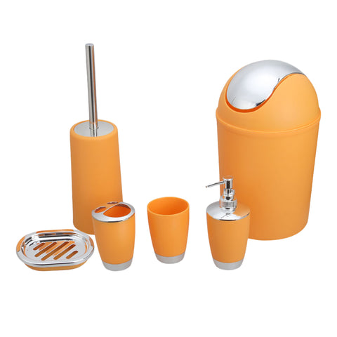 6pcs Bathroom Accessories Set Soap Dish Tumbler Rubbish Bin Toilet Brush Set