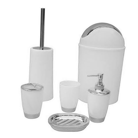 6PCS Solid Luxury Plastic Bathroom Accessories Set Wash Suit White
