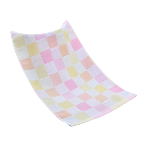 Double-deck Pure Cotton Kids Children Hand Face Towel Plaid Pink 25x50cm