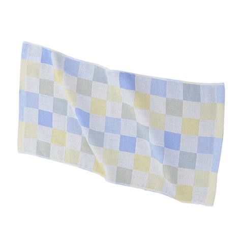 Double-deck Pure Cotton Kids Children Hand Face Towel Plaid Blue 25x50cm