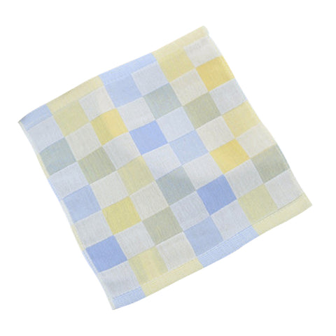 Double-deck Pure Cotton Kids Children Hand Face Towel Plaid Blue 25x25cm
