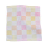 Double-deck Pure Cotton Kids Children Hand Face Towel Plaid Pink 25x25cm