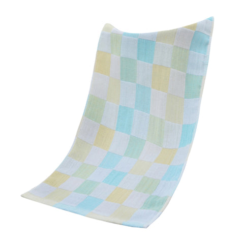 Double-deck Pure Cotton Kids Children Hand Face Towel Plaid Green 25x50cm