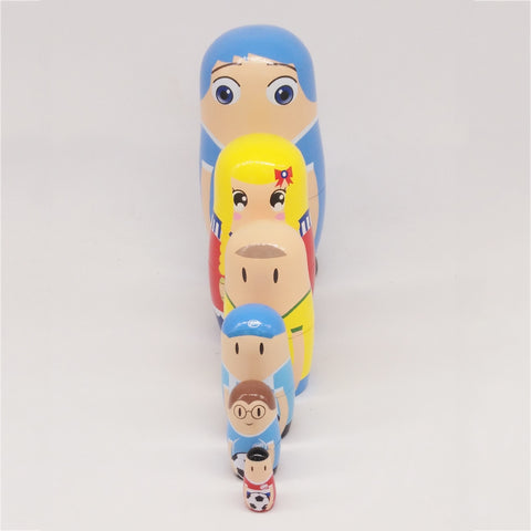 6 Pieces Cute Football Player Matryoshka Wooden Russian Nesting Dolls Set