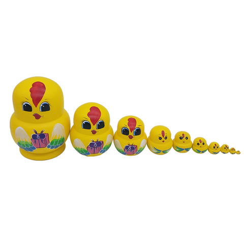 10 Pieces Cute Chicken Matryoshka Dolls Wooden Russian Nesting Dolls Set