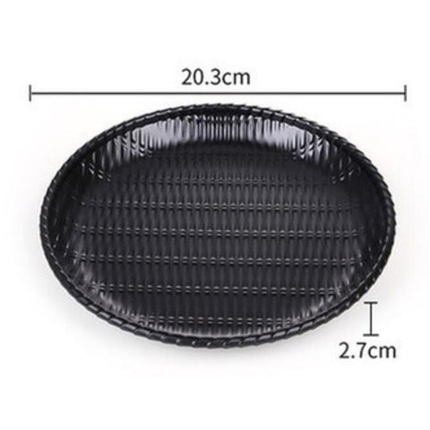 Rattan Food Serving Dish Wicker Water Drink Platter Round Cake Plate 8inch