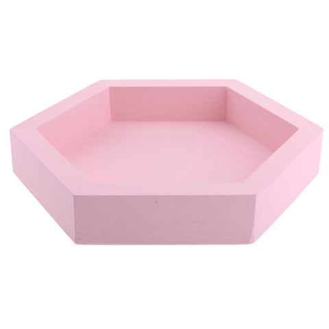 Wooden Colorful Fruit Storage Tray Cake Dessert Dish Plate Snack Bowl Pink