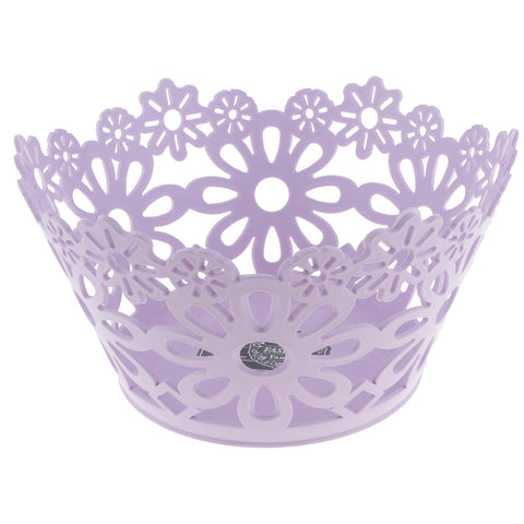 Flower Wire Fruit Tray Vegetable Basket Bowl Candy Biscuit Container Purple