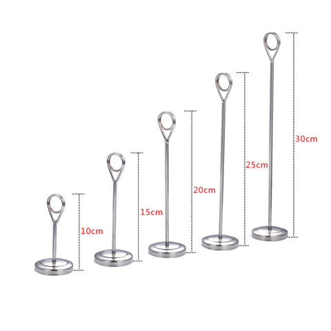 Hotel Stainless Steel Table Place Card Holder Table Number Stand  25cm