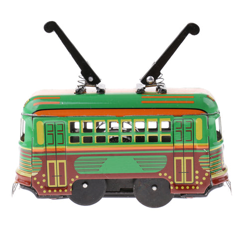 Wind Up Tram Trolley Model Automotive Tin Toy Clockwork Collectibels Gift