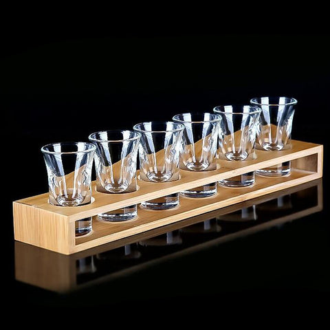Bamboo Liquor Cup Rack Glass Holder Beer Glasses Stand 6 Holes Straight