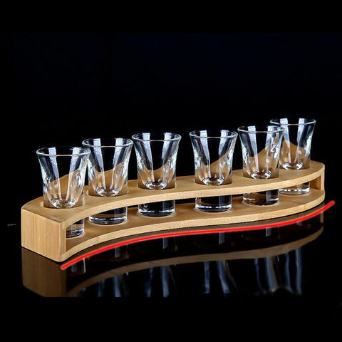 Bamboo Liquor Cup Rack Glass Holder Beer Glasses Stand 6 Holes S Shaped